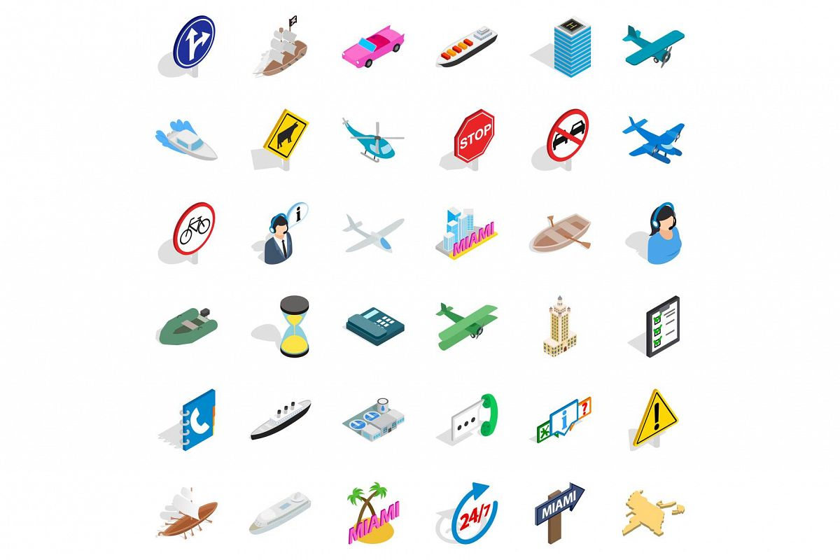 Traffic in city icons set, isometric style example image 1
