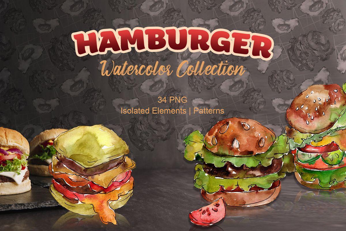 Hamburger Watercolor png example image 1