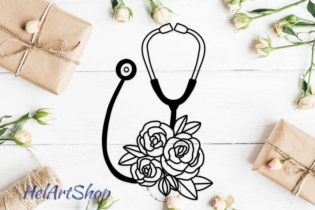 nurse stethoscope svg. example image 1