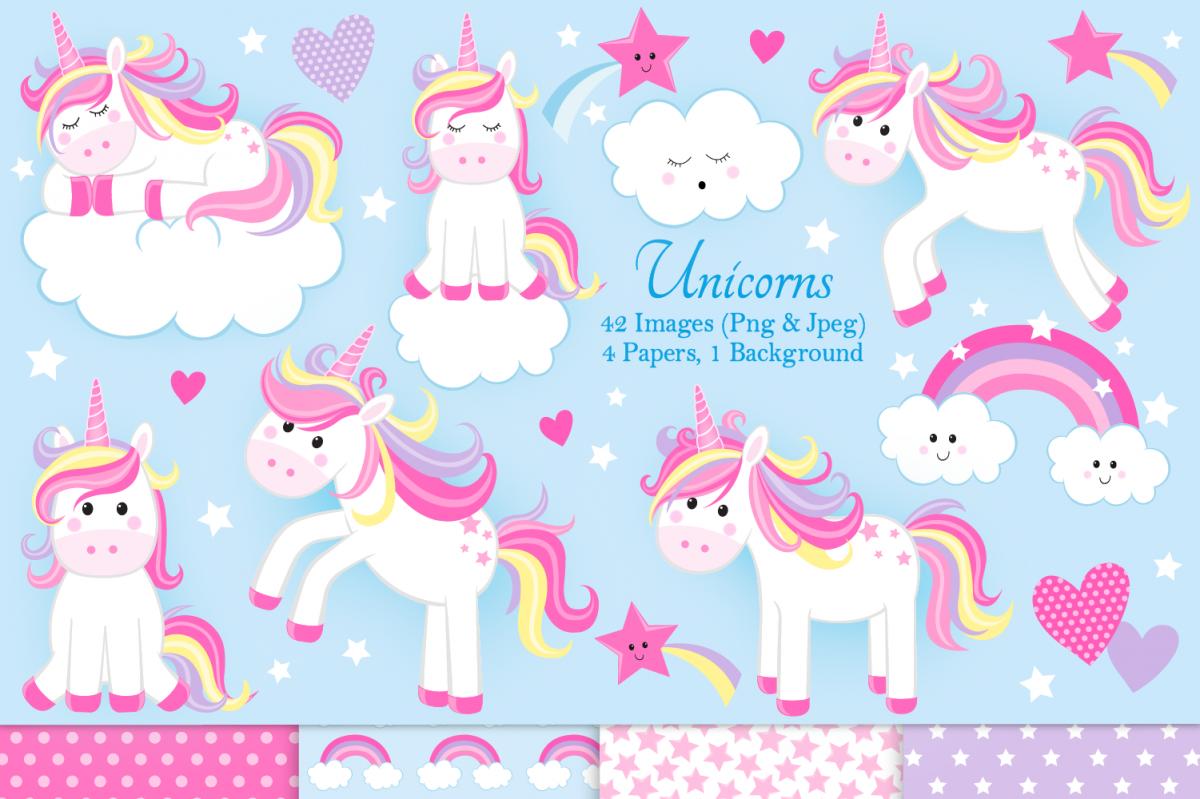 Unicorn clipart, Unicorn graphics & Illustrations, Unicorns example image 1