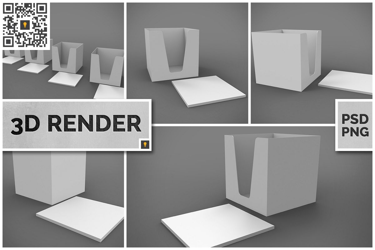 Notepad Holder & Notes 3D Render example image 1