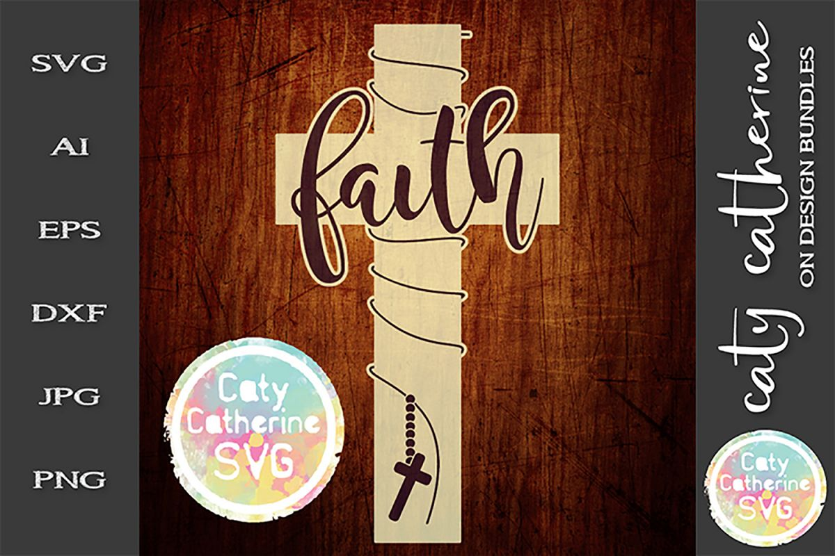 Faith Cross Rosary Beads SVG Cut File example image 1