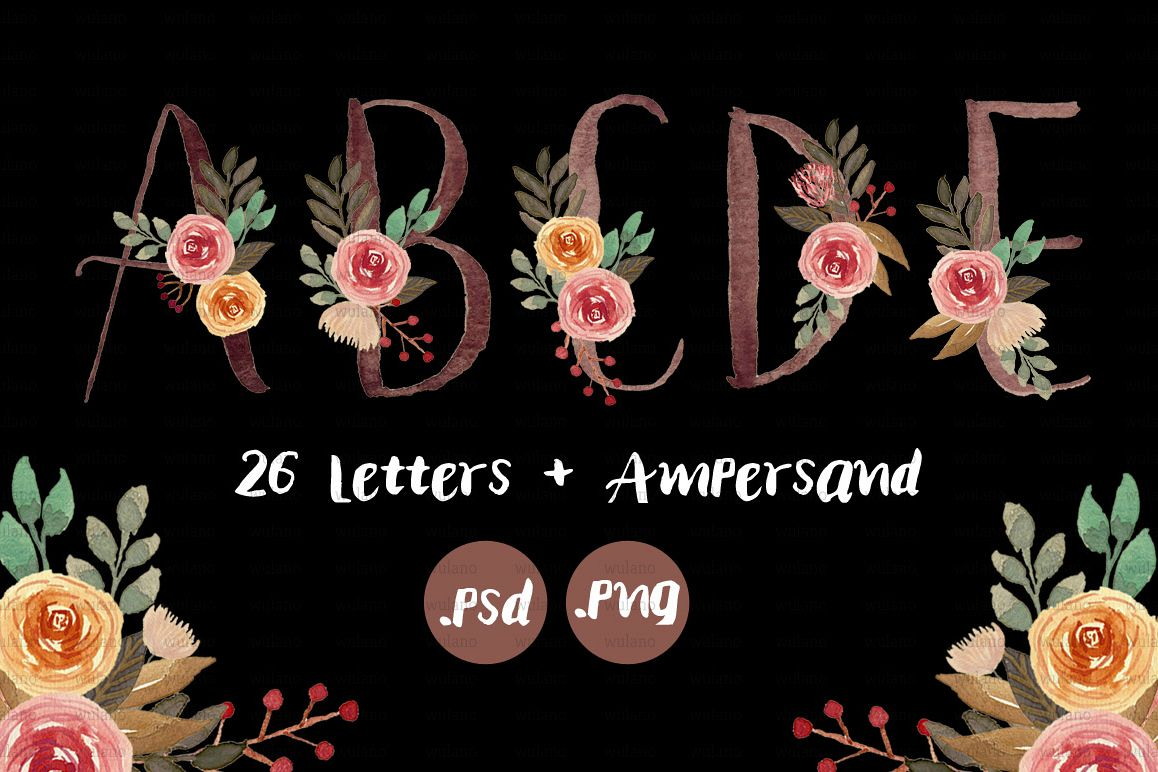 Floral Monogram Letters example image 1