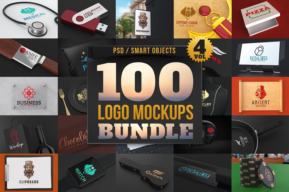 100 Logo Mockups Bundle Vol.4 example image 1