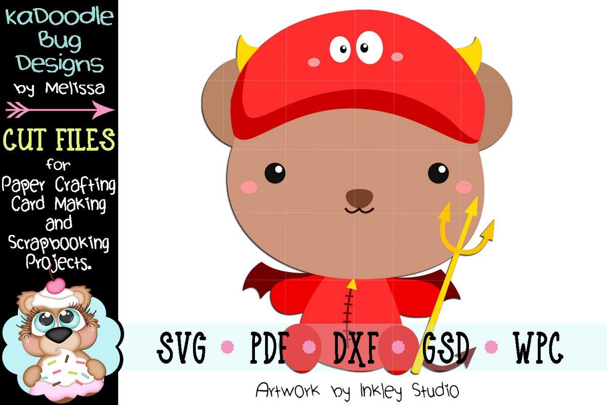 Halloween Devil Bear Cut File - SVG PDF DXF GSD WPC example image 1