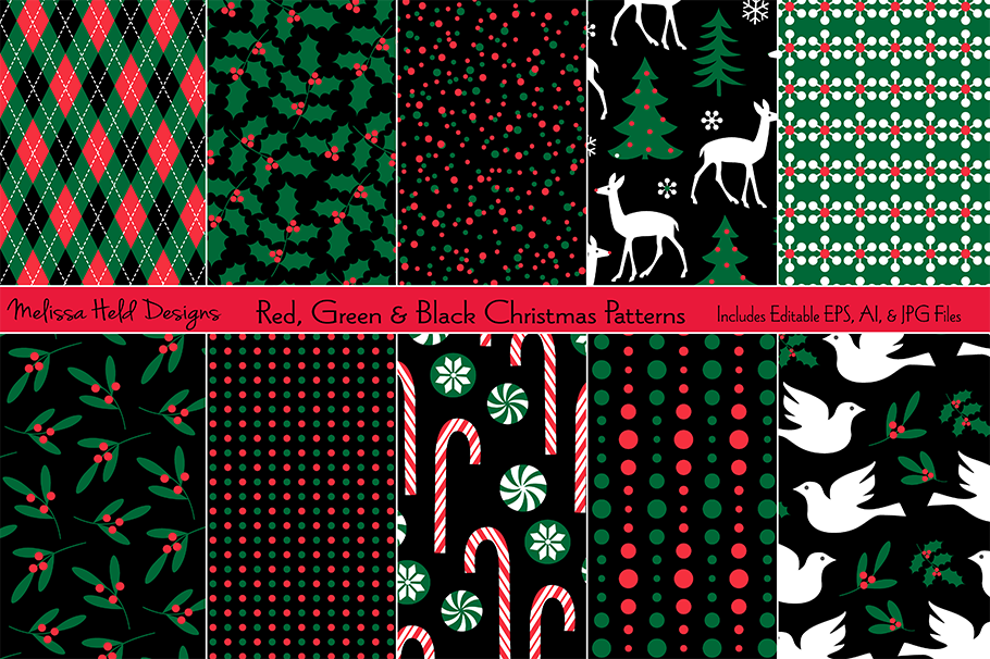 Christmas Pattern.Red Green Black Christmas Patterns