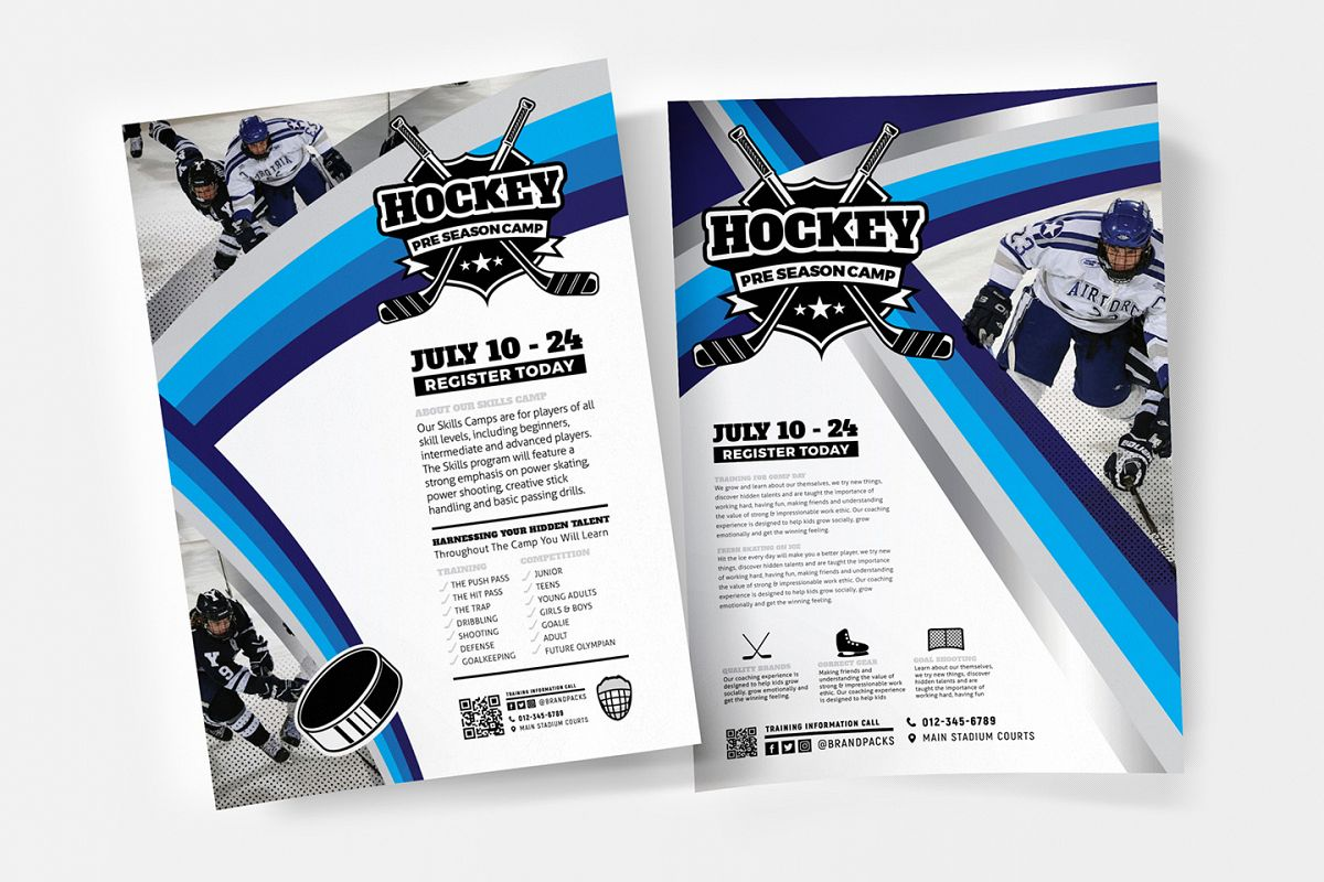 A4 Hockey Club Poster Templates example image 1
