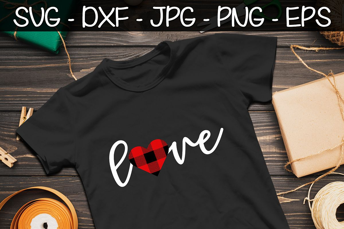 Valentines Day Buffalo Plaid SVG PNG EPS Valentine's Day SVG example image 1