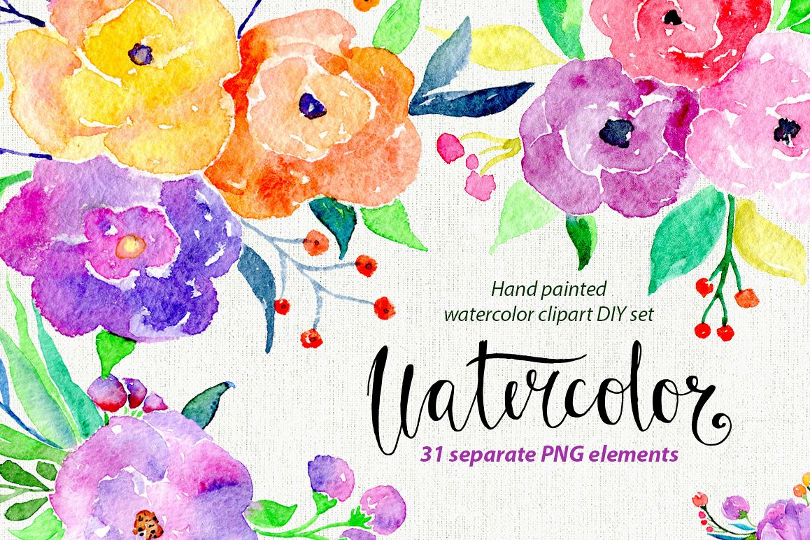Bright colorful watercolor flowers example image 1