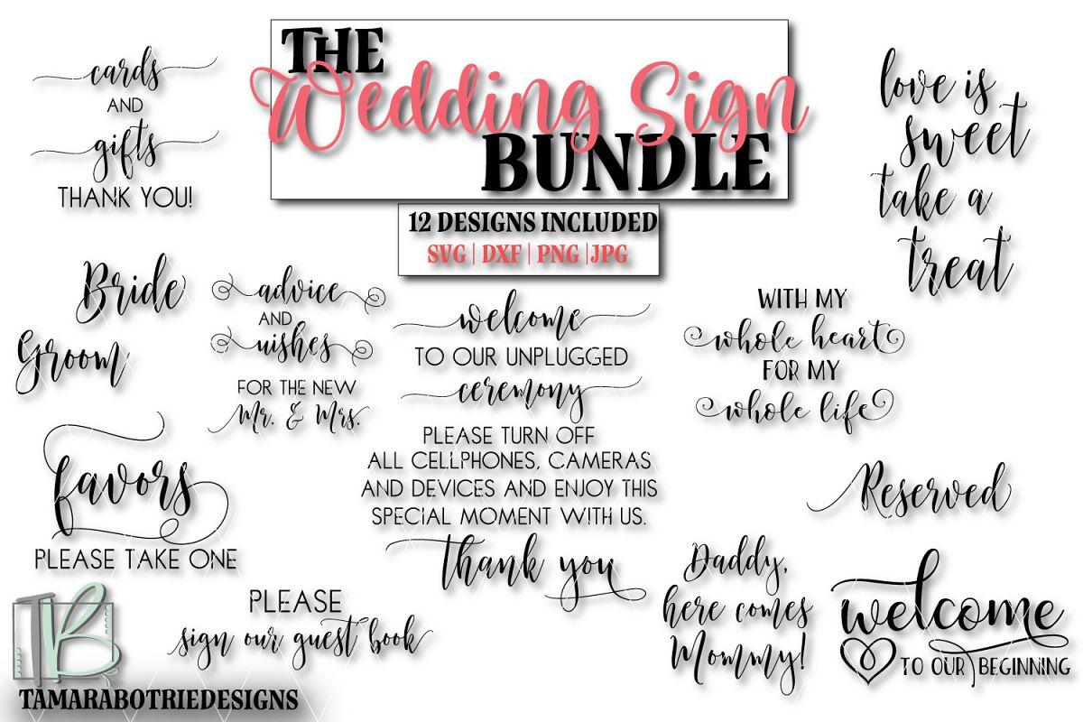 Wedding Sign SVG Bundle, Wedding Cut Files example image 1