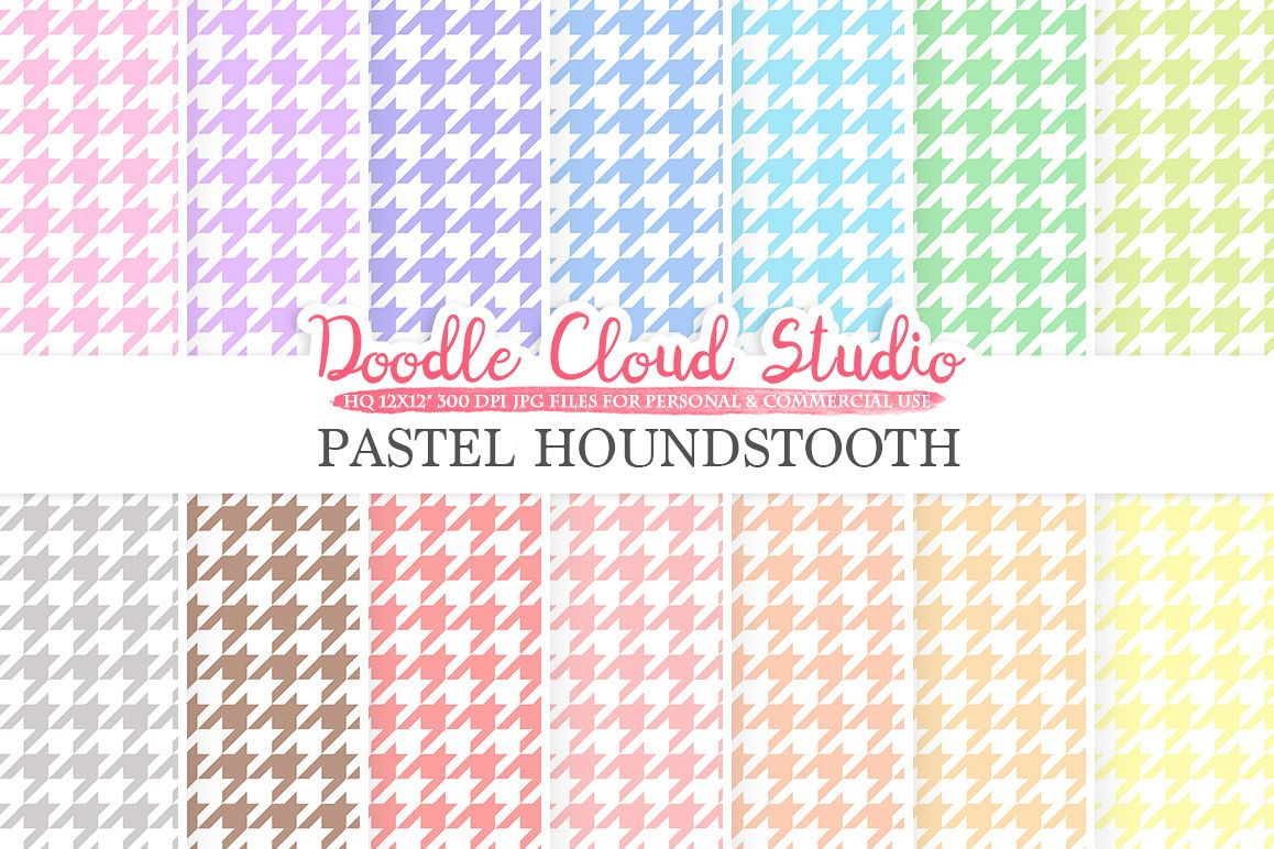 Pastel Houndstooth digital paper, Houndstooth pattern, Digital Houndstooth pastel background, Instant Download for Personal & Commercial Use example image 1