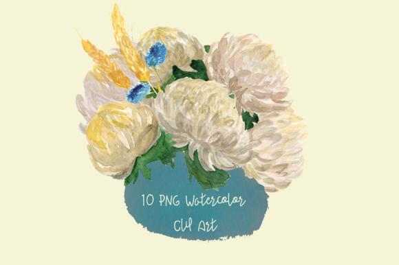 10 Watercolor Chrysantemums Clip Art example image 1