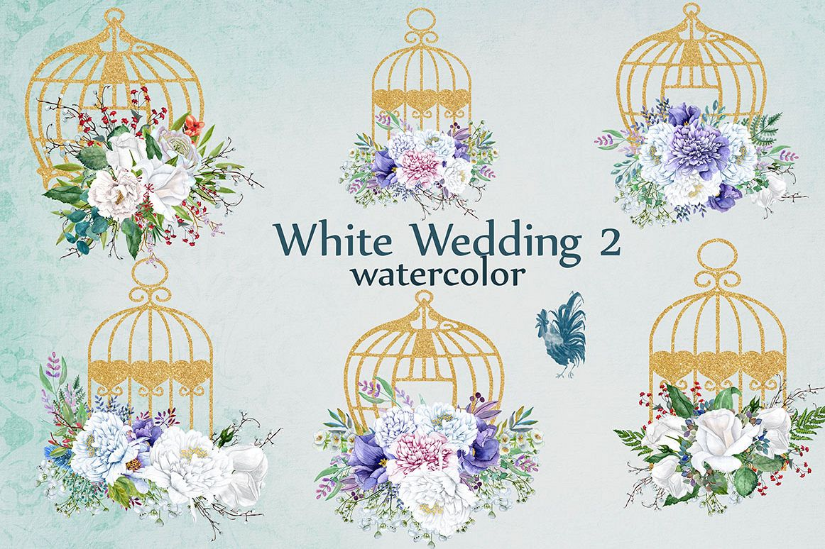 Watercolor white flowers clip art example image 1