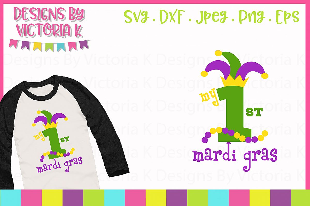 My 1st Mardi Gras, SVG, DXF, PNG example image 1