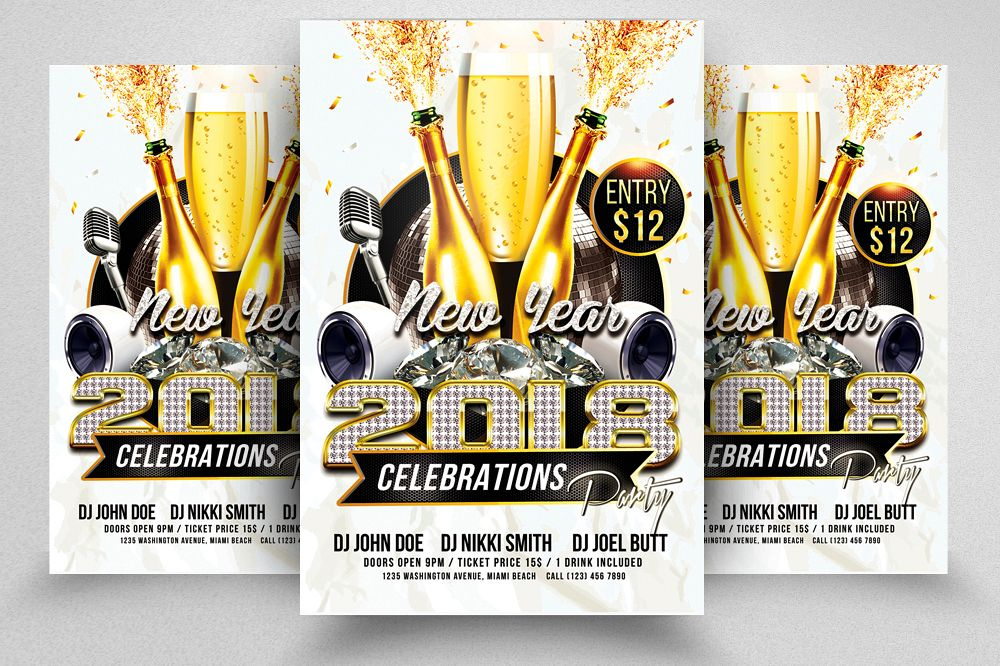 happy new year flyer templates