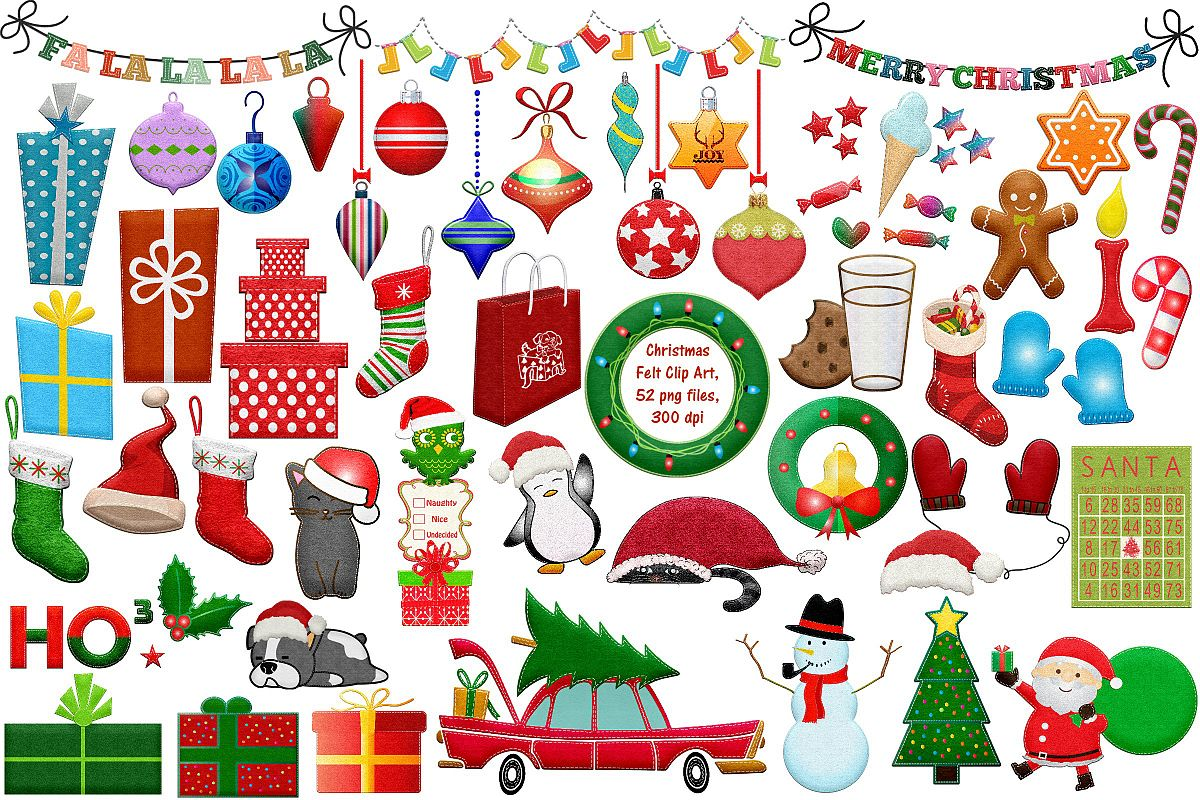 Christmas Felted Elements Clip Art example image 1