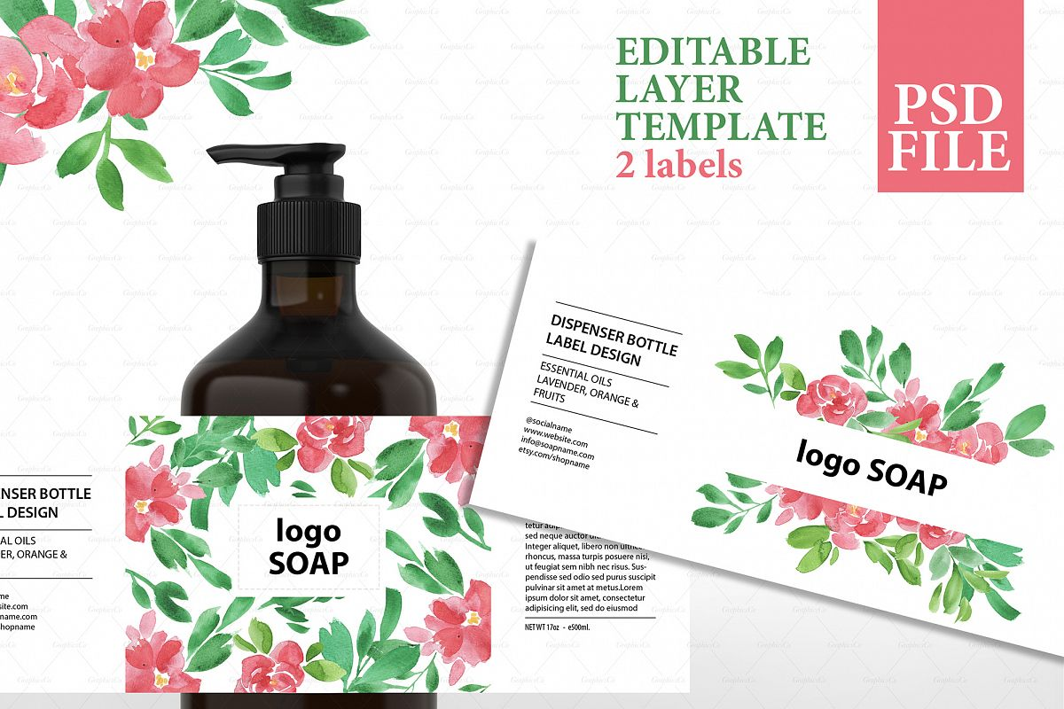 Soap label editable layer template PSD example image 1