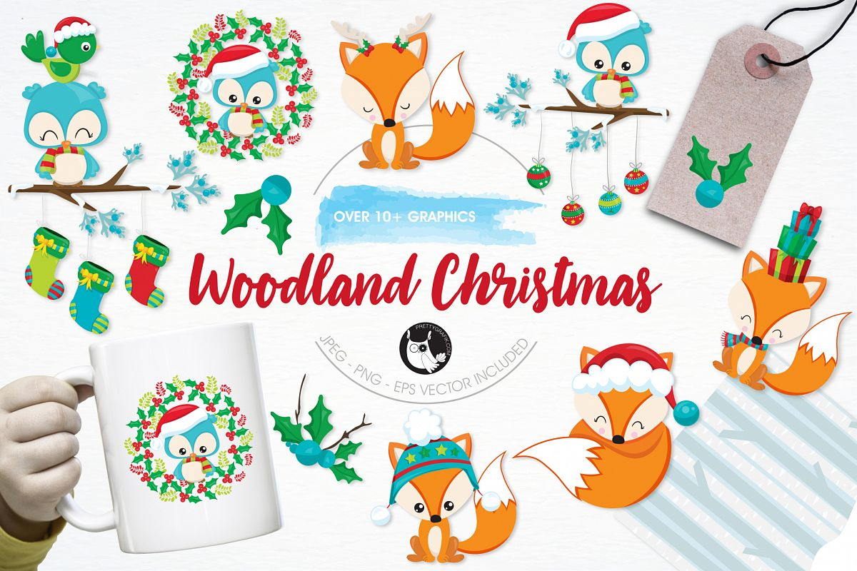 Woodland Christmas  graphics and illustrations example image 1