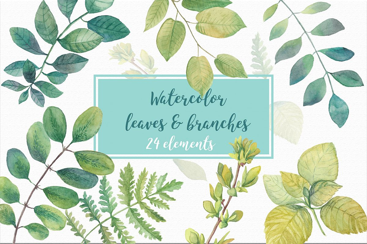 Watercolor leaves & branches example image 1