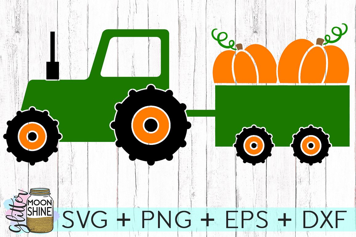 Fall Tractor SVG DXF PNG EPS Cutting Files example image 1