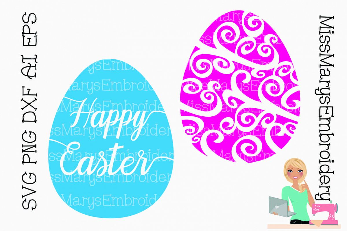 Easter Egg Swirls SVG Cutting File PNG DXF AI EPS example image 1