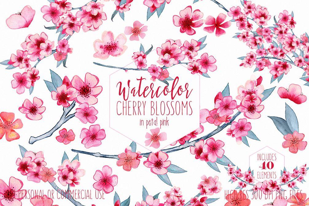 WATERCOLOR CHERRY BLOSSOMS Clipart Commercial Use Wedding Floral Wreaths Petals Branches Spring Flower Bouquets Sakura