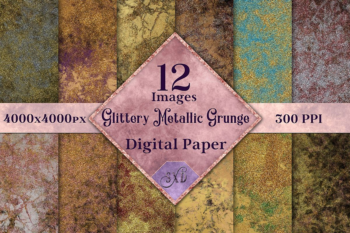 Glittery Metallic Grunge Digital Paper, Textures Backgrounds example image 1