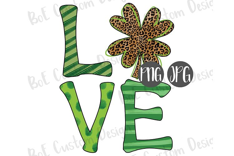 Shamrock Love St. Patrick's Day Drawn Clipart example image 1