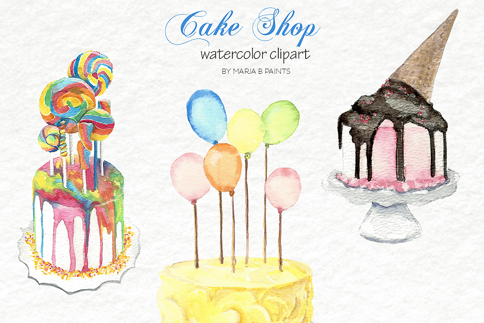 Birthday cake watercolor. Clip art cakes