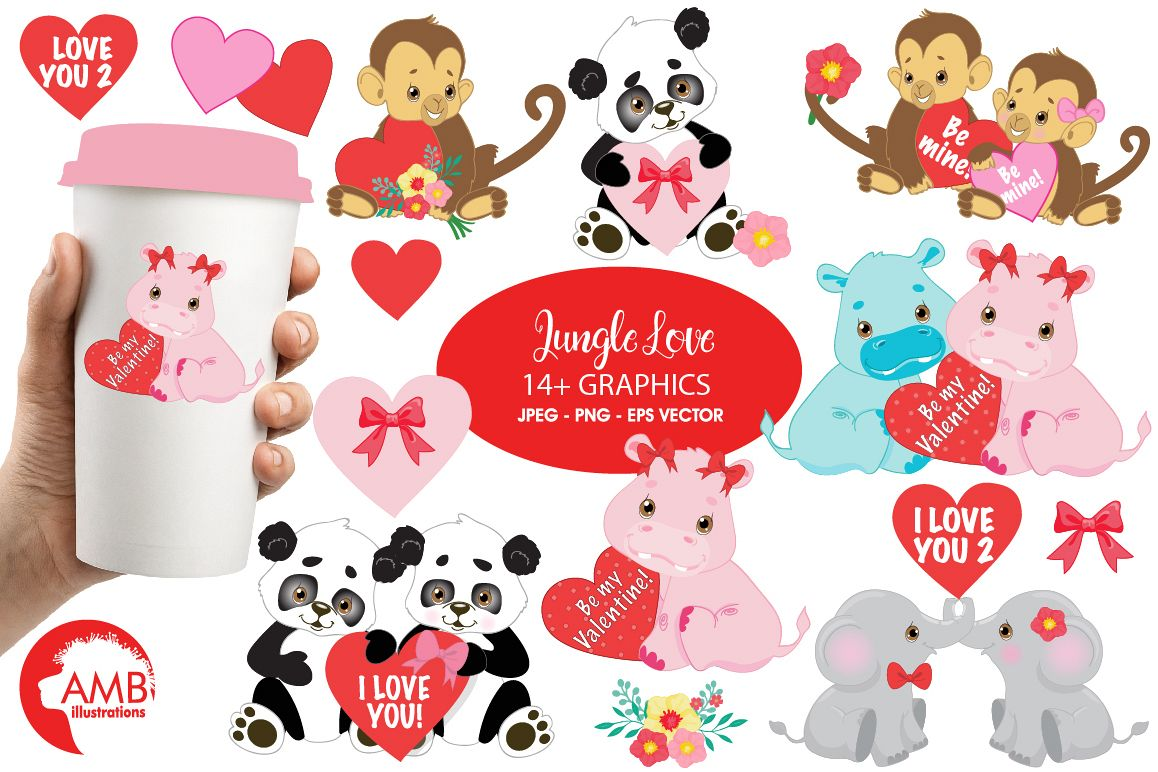 Happy Valentine clipart, Jungle animals clipart, graphics illustrations AMB-596 example image 1