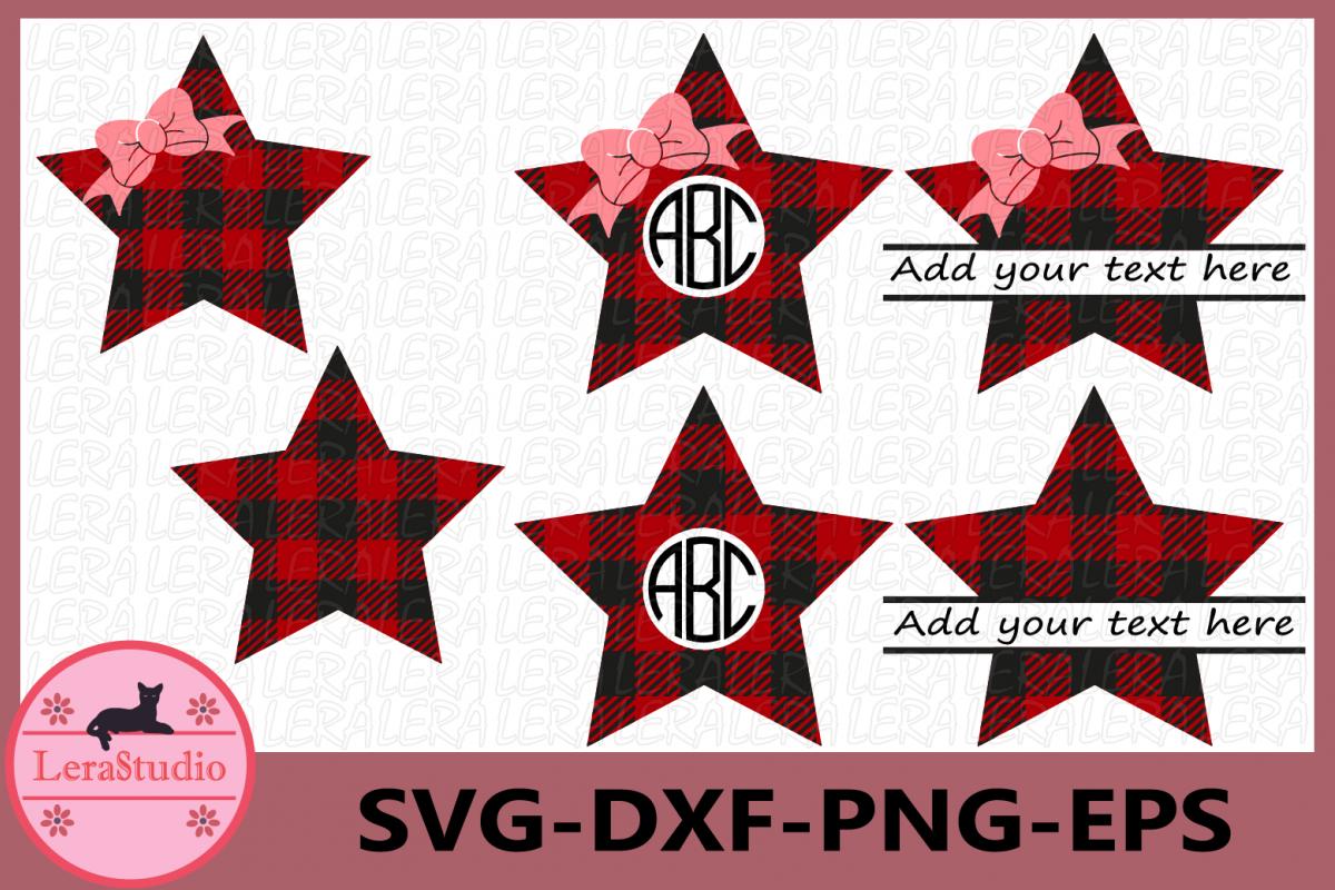 Stars Svg, Star Buffalo Plaid SVG, Stars Monogram Svg example image 1