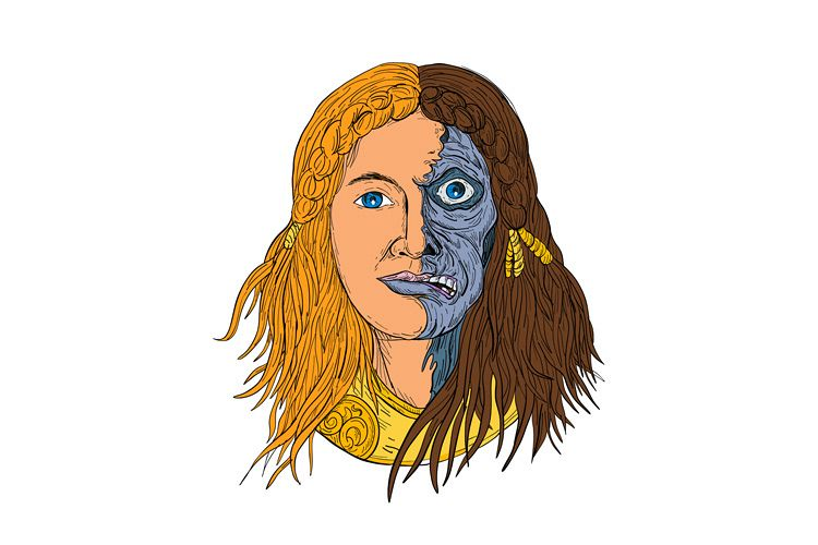 Hel Norse Goddess Face Front Drawing Color example image 1