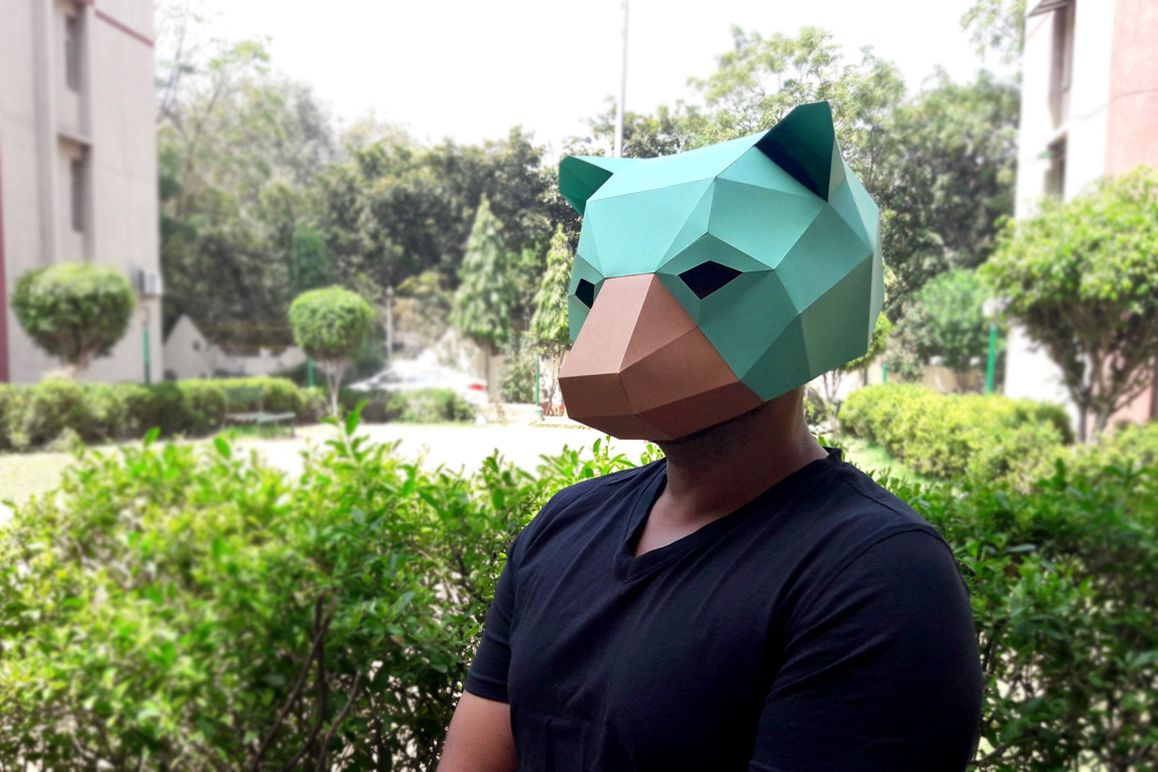 DIY Bear Mask - 3d papercraft example image 1