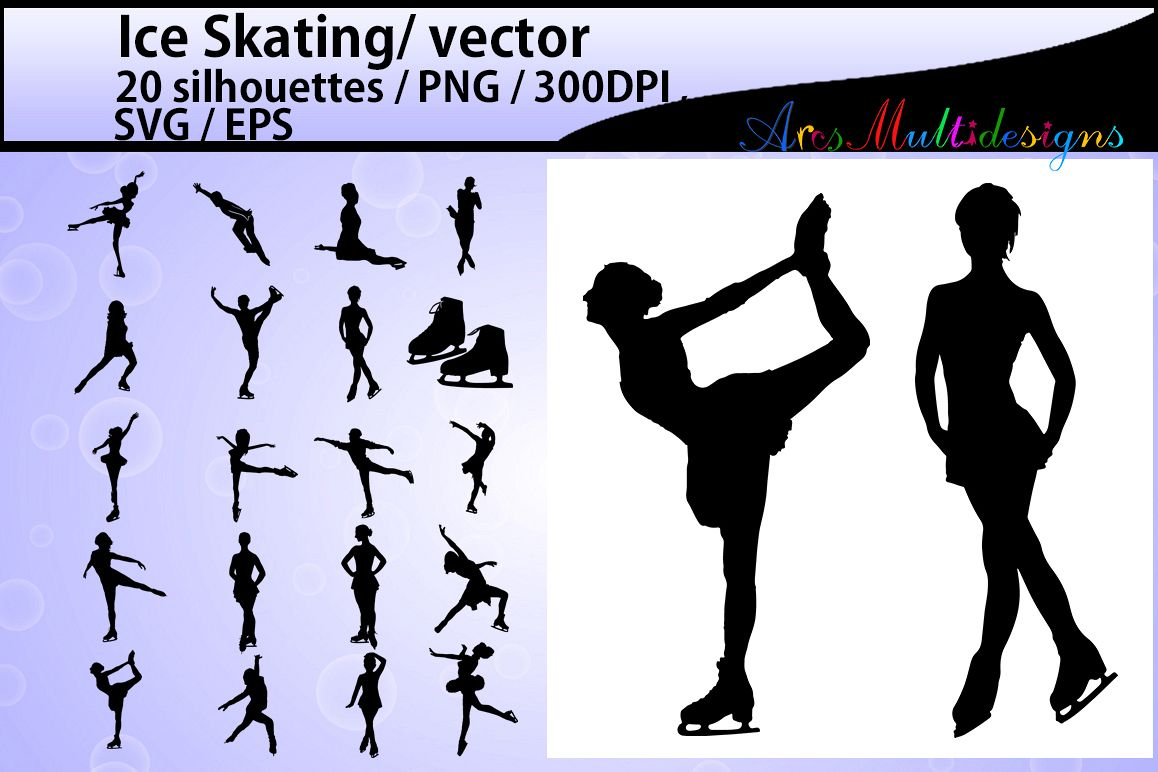 Ice Skating silhouette/ ice Skating / Ice Skating clipart / High Quality vector 300 dpi / athletes / Skating / EPS / SVG / PNG example image 1