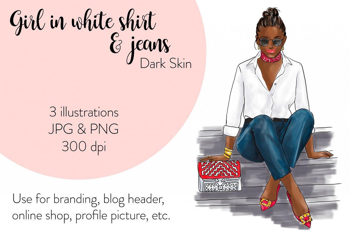 Fashion illustration - Girl in White Shirt & Jeans - Dark example image 1