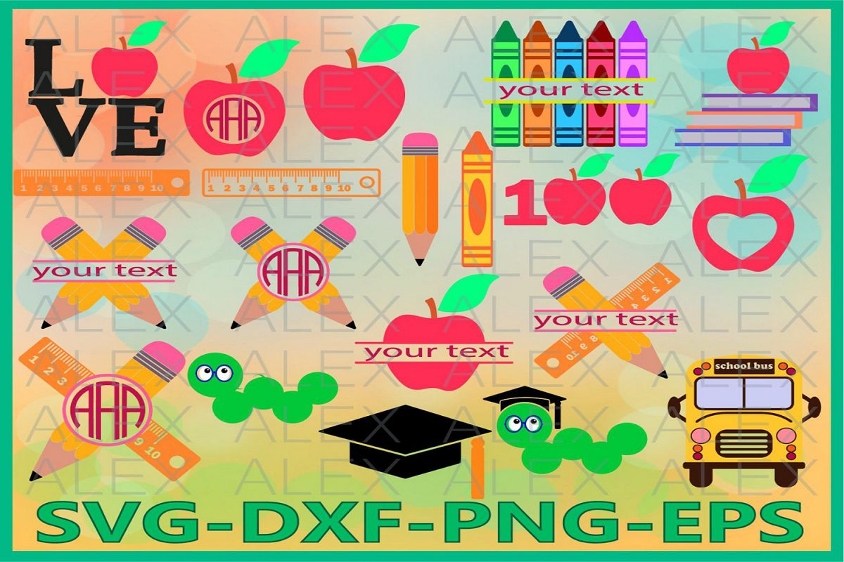 School Bundle svg, School Monogram Svg, Teacher svg, Pencil example image 1