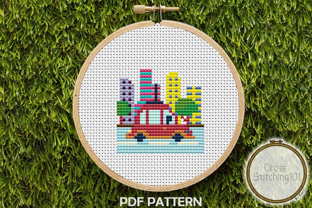 Driving Car Scene Cross Stitch Pattern- Instant Download PDF