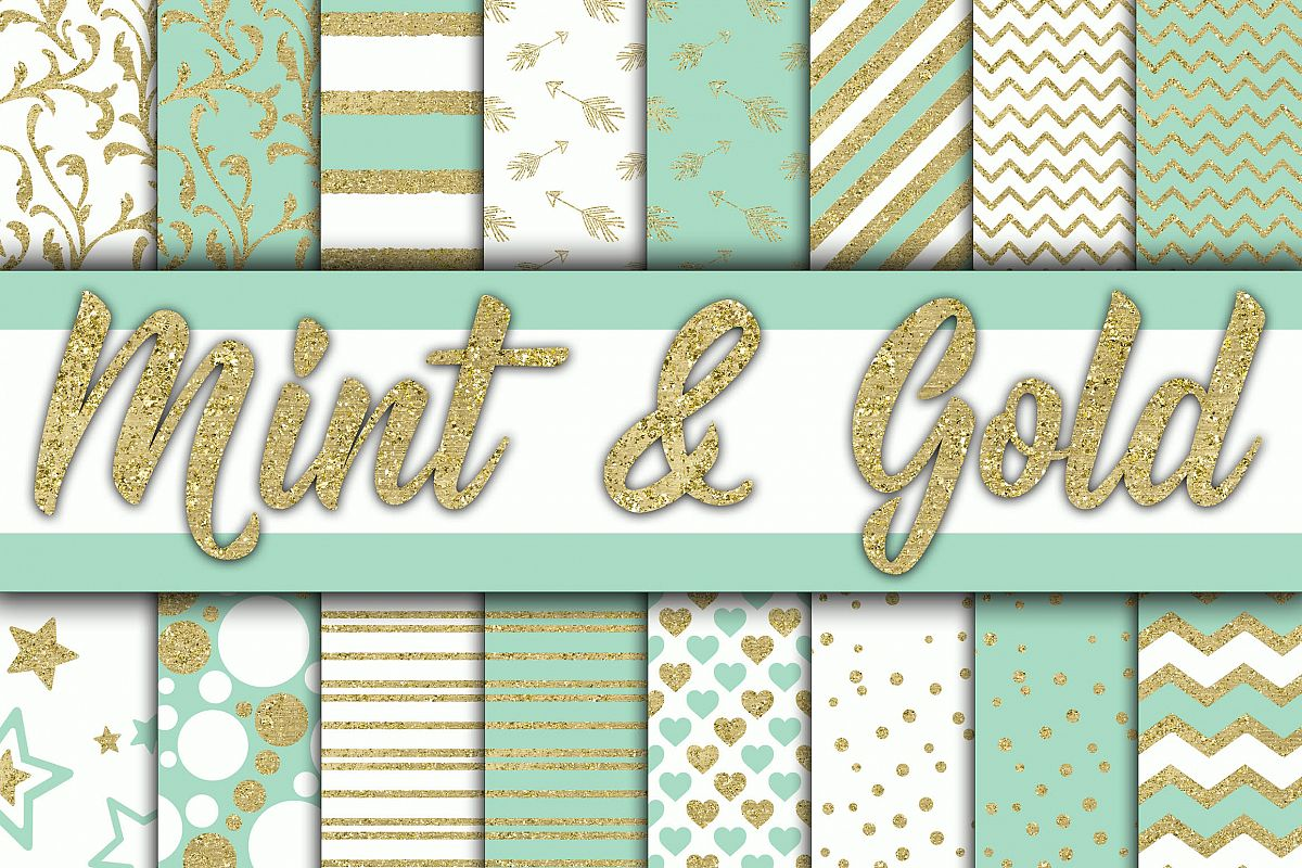 Mint and Gold Digital Paper example image 1