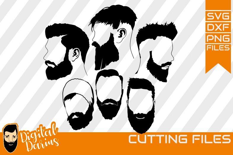 5x Beard Man SVG, Man svg, hipster beard svg, Hairstyle men example image 1