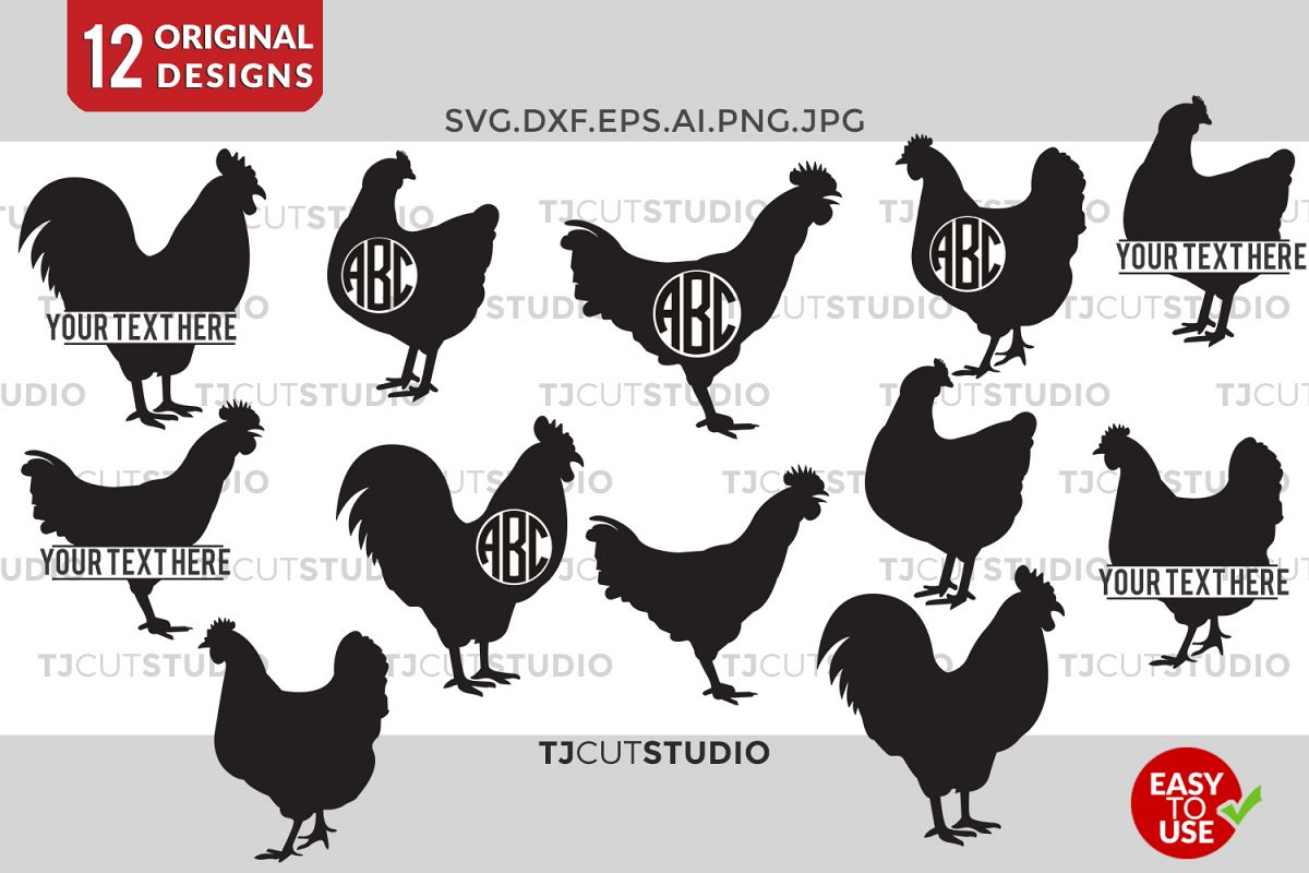Chicken SVG, Chicken Monogram Svg, Chicken Silhouette, Chickens Svg, Svg Files for Silhouette Cameo or Cricut Commercial & Personal Use example image 1