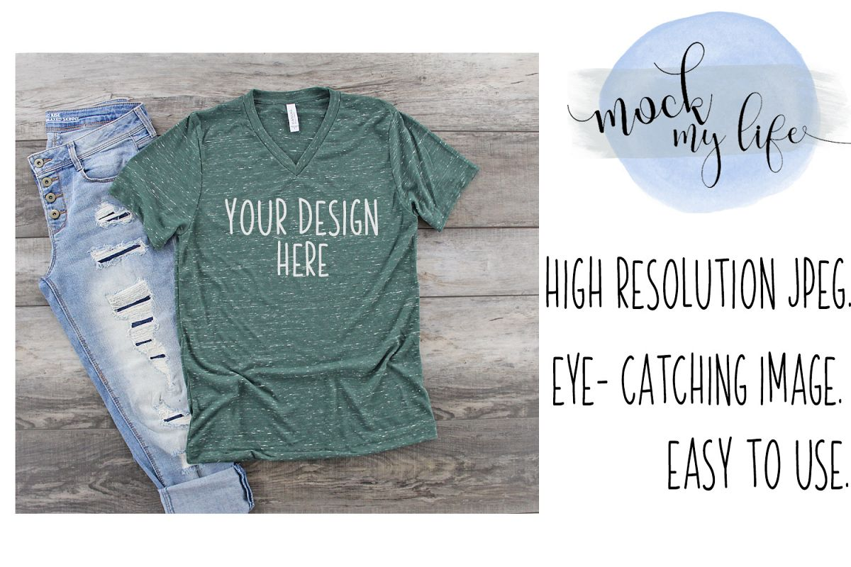 Bella Canvas Mockup / Plain Shirt Mock up / Forest Marble example image 1