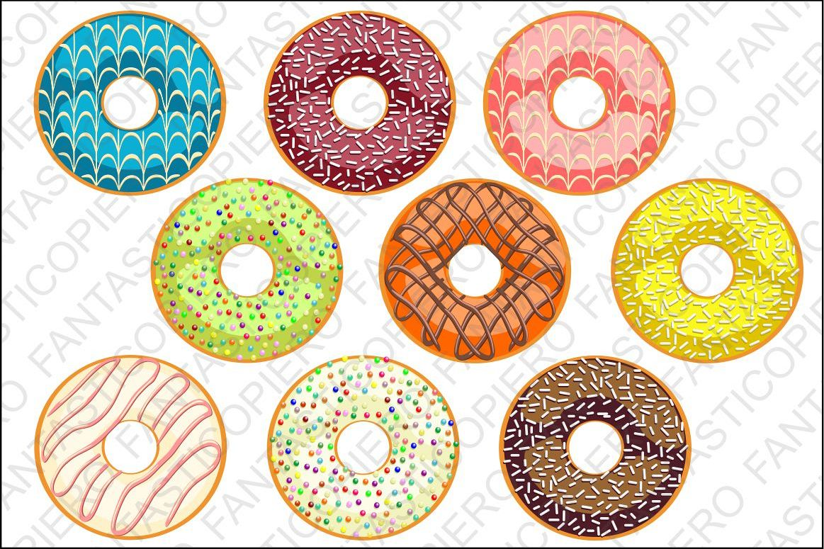 Donut Clip Art doughnut clipart JPG files and PNG files example image 1