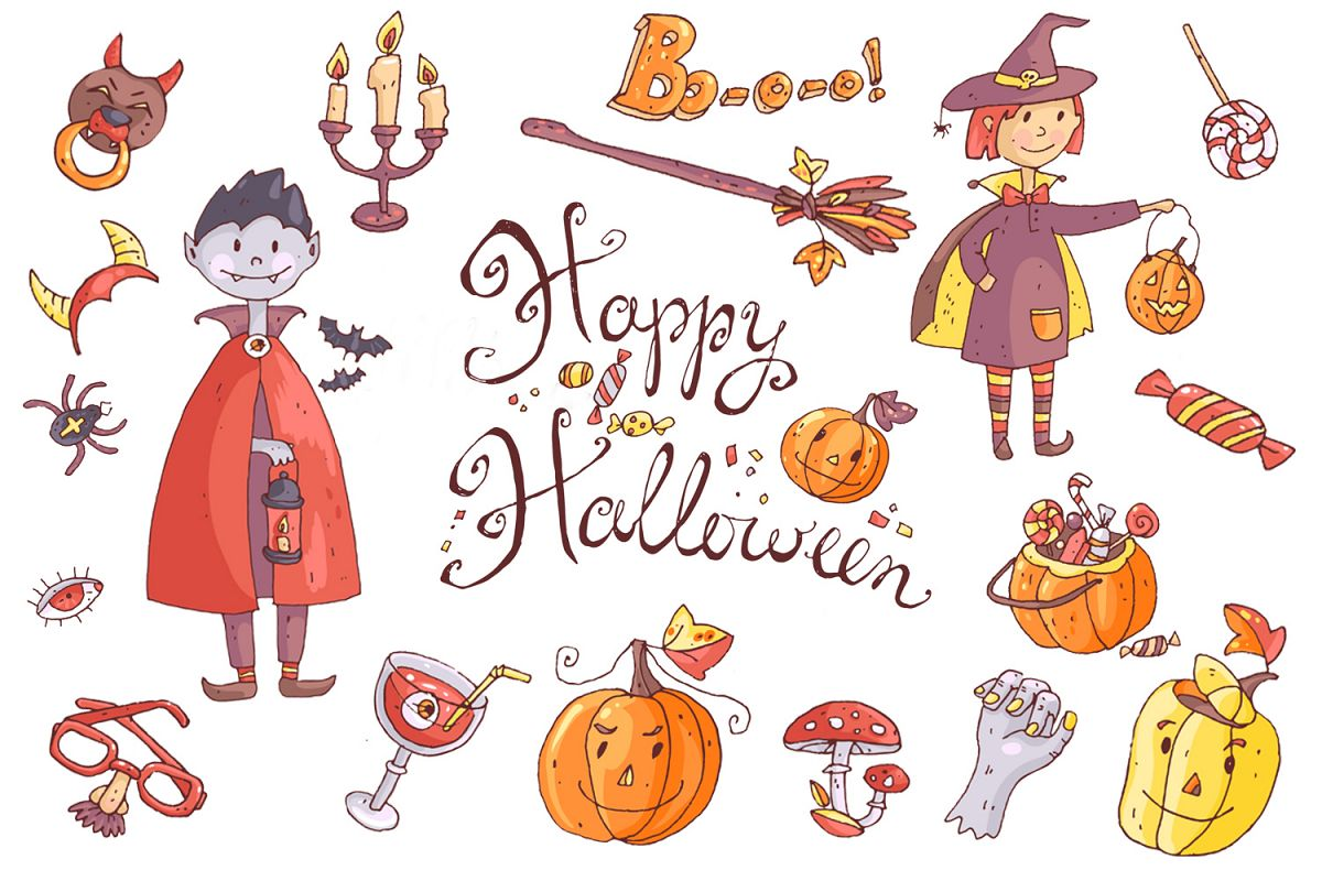 Cute Halloween. Patterns, cards. example image 1