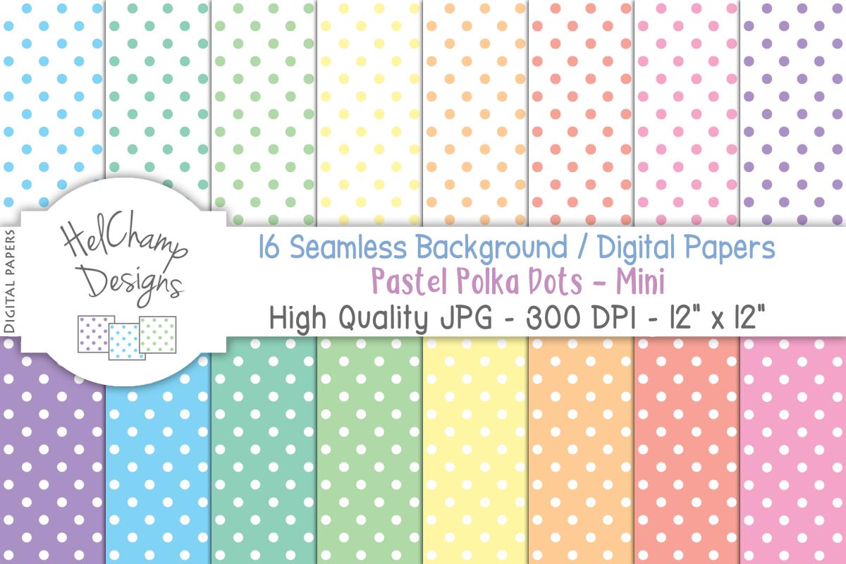 16 seamless Digital Papers - Pastel Polka Dots Mini - HC008 example image 1