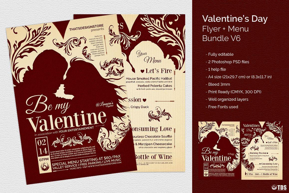 Valentines Day Flyer + Menu Bundle V6 example image 1