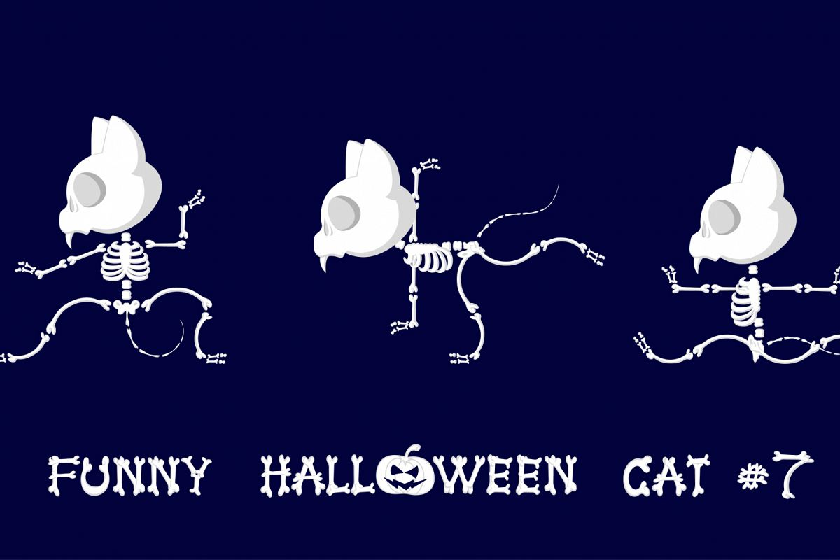 Set of 9 funny skeletons cats - 3 example image 1