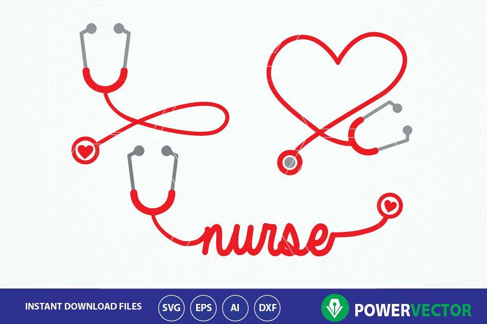 Stethoscope SVG, Nurse Word Art Svg. Nurse Heart Monogram Frame ...