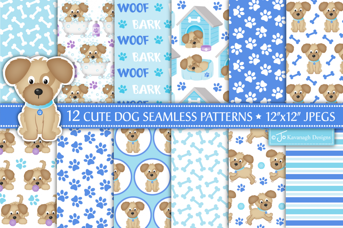 Dog Digital Papers, Dog Patterns, Puppy Dogs -P40 example image 1