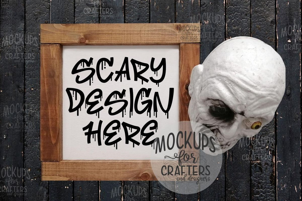 Halloween Wood Sign Mock-Up - Skull example image 1