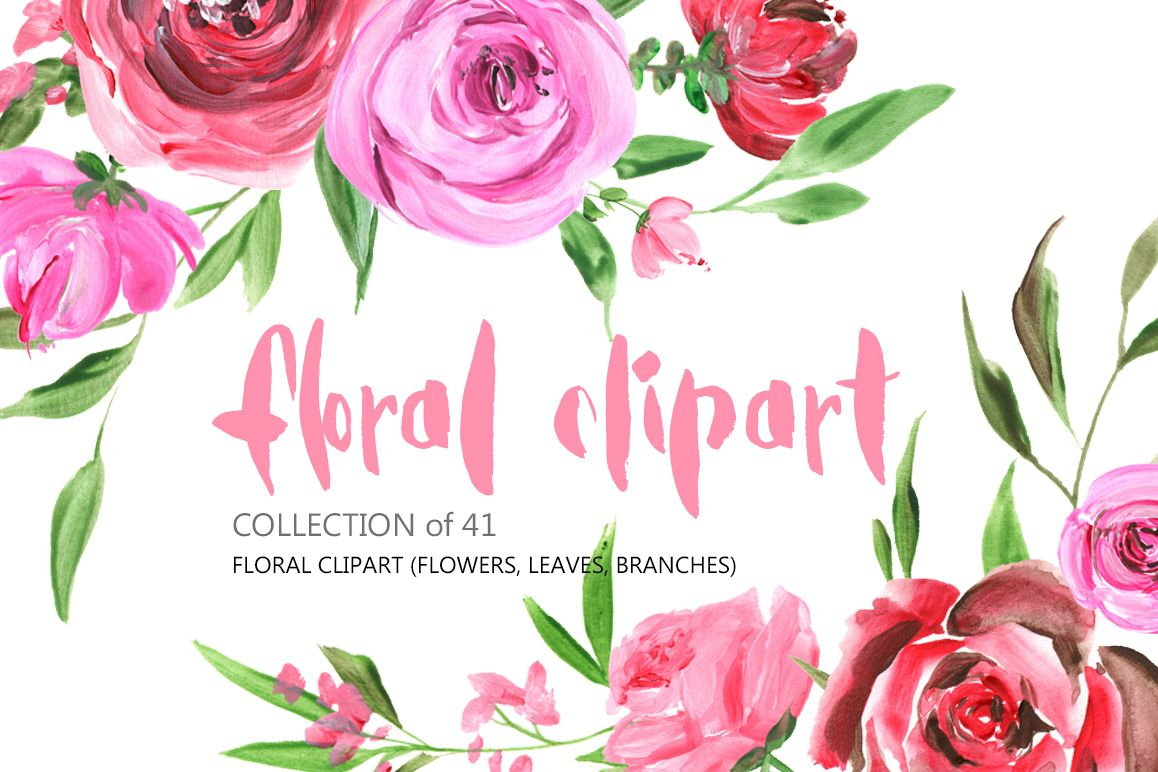 Acrylic Watercolor Flowers Png Set